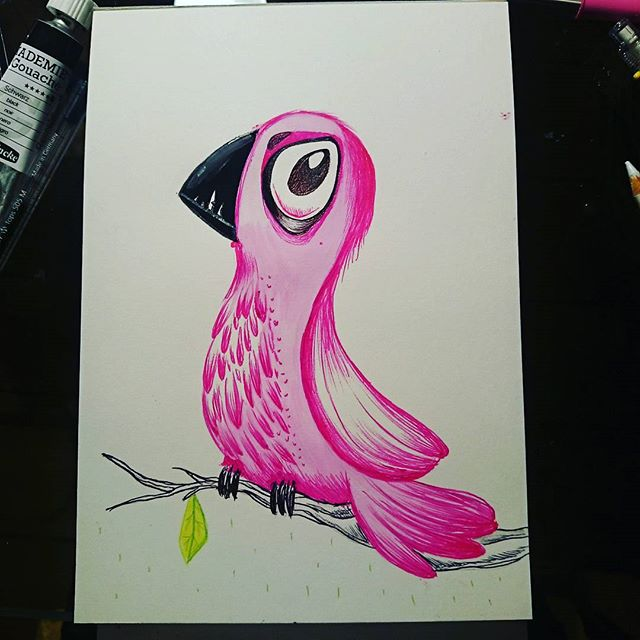 Here's an arrogant pink bird.I'm afraid he hates your guts.