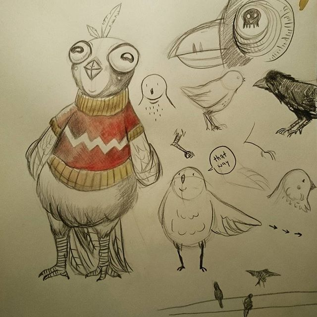 Some birdies. #happybird #birds #birdie #sketches #illustration #illustratorsofinstagram #sweater #sweaterweather #feathers #pidgeon #chicken #pigeonorchicken #pigeonchickenhybrid #details #fatbird #drawing #art